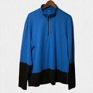 Lululemon Blue & Black Half Zip Stretch Long Sleeve Shirt XL